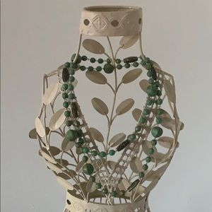 VINTAGE LONG GREEN & BRASS BEADS NECKLACE